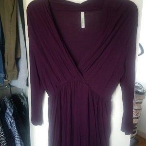 Plunging neckline plum dress (from Stitch Fix)